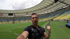 Guy Celebrating in the Famous Maracana Stadium in Rio de Janeiro, Brazil - stock footage