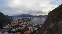 Aerial View from the Cable Car of the Sugar Loaf Mountain in Rio de Janeiro Stock Footage