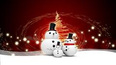 snowman family with light star - stock illustration