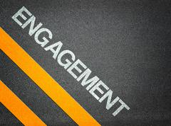 engagement text writing road asphalt - stock illustration