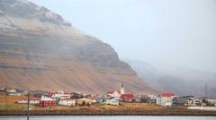 Small town Icelandic fishing village, Grundarfjordur, Iceland Stock Footage
