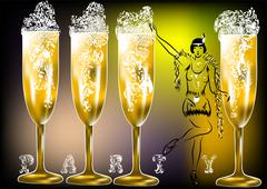 Stock Illustration of champagne party twenties