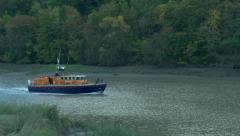 Speeding rescue rnli boat Stock Footage