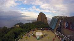 Tourists on Sugar Loaf Mountain in Rio de Janeiro, Brazil Stock Footage