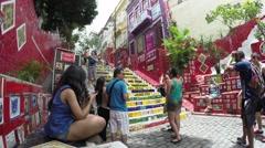 Escaderia Escadaria Selaron (Selaron Stairs) in Rio de Janeiro, Brazil Stock Footage
