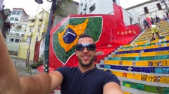 Guy Doing a Selfie on Escadaria Selaron in Rio de Janeiro, Brazil Stock Footage