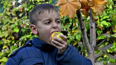 Boy eating an sour apple, hd stock video Stock Footage