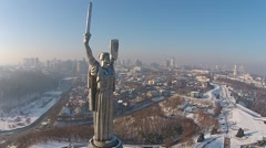Aerial view of Monument Motherland in Kiev, Ukraine Stock Footage