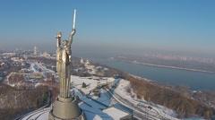 Aerial view of Monument Motherland in Kiev, Ukraine Stock Footage