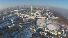 Winter aerial view of Kiev-Pechersk Lavra Stock Footage