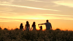 Sunrise Caucasian Family Team Sibling Sisters Parents Affection Freedom Outdoor - stock footage