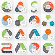 Infographic, diagram, 3 options, parts, steps. Stock Illustration