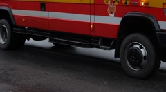 Fire Brigade Truck Slowly Passing Stock Footage