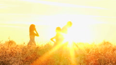 Loving Caucasian Family Together Outdoors Sunset Carefree Lifestyle Happiness - stock footage
