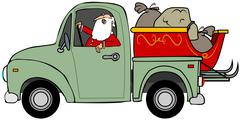Santa hauling his sleigh - stock illustration