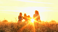 Young Happy Caucasian Parents Love Children Sunrise Outdoors Leisure Lifestyle Stock Footage