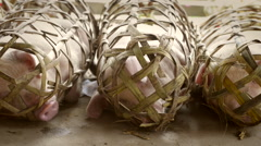 Live pigs in rural Chinese outdoor market Stock Footage