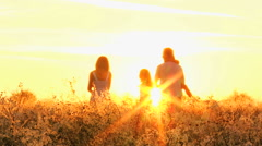 Caucasian Parents Three Young Daughters Girls Playing Together Outdoors Sunrise Stock Footage