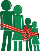 Christmas family in need Stock Illustration