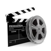 cinema film and clap board - stock illustration
