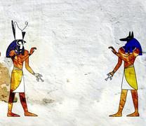 Anubis and Horus - stock photo