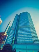 Stock Photo of Retro look European Central Bank in Frankfurt