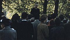 London 1960s: preacher speech in the West end - stock footage