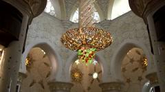 The United Arab Emirates city of Abu Dhabi 025 inside Sheikh Zayed Grand Mosque Stock Footage