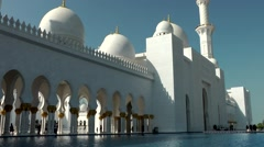 The United Arab Emirates city of Abu Dhabi 029 Grand Mosque outside water basin Stock Footage