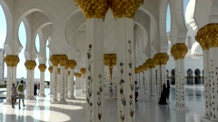The United Arab Emirates city of Abu Dhabi 031 Sheikh Zayed Grand Mosque arcades Stock Footage