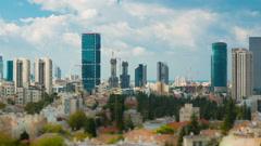 Tel Aviv Skyline Time Lapse - Tilt Shift Stock Footage