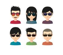 Set of asian male avatars with various hair styles wearing sun glasses Piirros