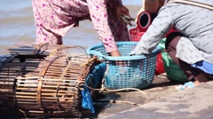 CRAB FISHING & SELLING - Pulling crabs from traps by the sea Stock Footage