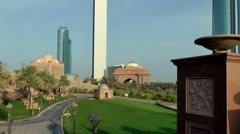 The United Arab Emirates city of Abu Dhabi 061 Emirates Palace estate overview Stock Footage