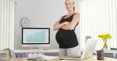 Beautiful Pregnant businesswoman smiling Stock Footage