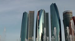 The United Arab Emirates city of Abu Dhabi 064 skyscrapers and fountains Stock Footage