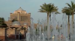 The United Arab Emirates city of Abu Dhabi 067 fountains of Emirates Palace Stock Footage