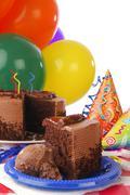 Chocolate birthday cake Stock Photos