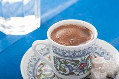 turkish coffe serving - stock photo
