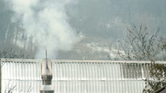 White Smoke Vapour Rise House Roof Chimney Stock Footage
