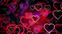 Abstract Hearts on a dark red background Stock Footage