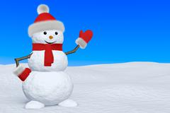 snowman with scarf on snow pointing to copy-space - stock illustration