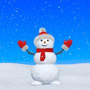 snowman with scarf looking up under snowfall - stock illustration