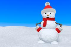 snowman with scarf on snow under blue sky - stock illustration