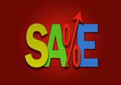 Sales go up coloured price percent arrow Stock Illustration