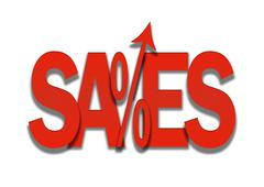 Sales go up red price discount in percent background Stock Illustration