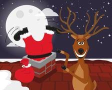 Funny reindeer with Santa on the roof Piirros