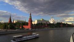 View from the Bolshoy Kamenny bridge to the Moscow Kremlin. Stock Footage