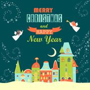 Two angels above cityscape, Christmas greeting card - stock illustration