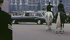 London 1960s: limousines during a State visit Stock Footage